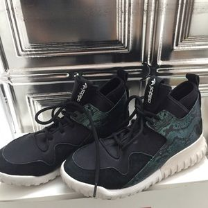 Adidas Tubular Sneakers Black Green Snakeskin US7
